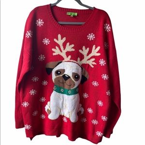 Red dog Christmas sweater size 1x
